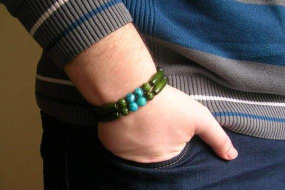 Black Green & Blue Beads Bracelet Couple Bracelets Beaded