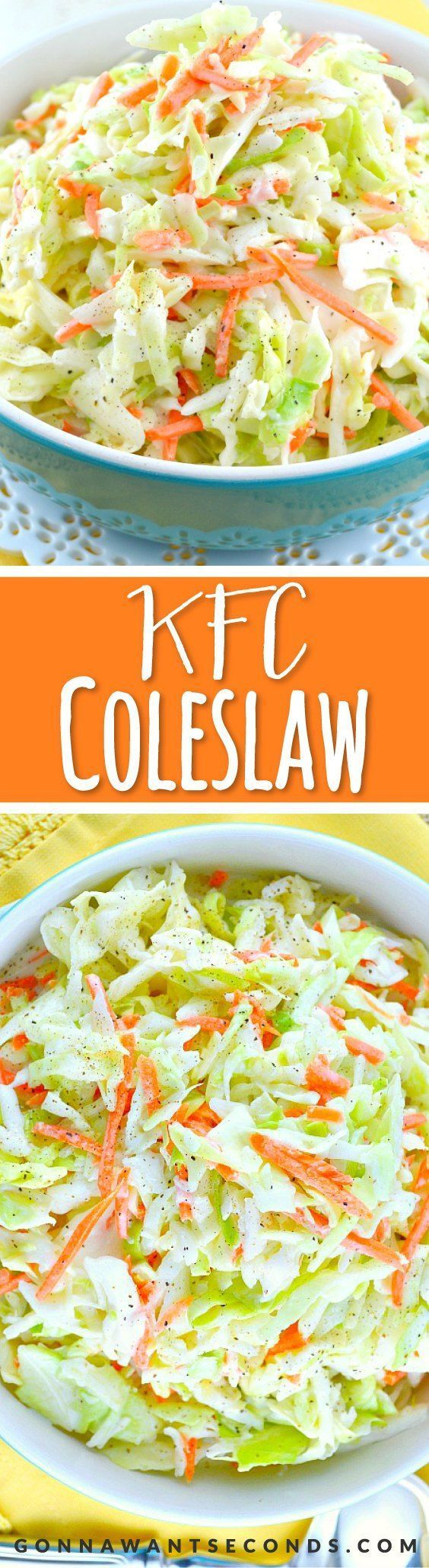 KFC-Coleslaw-Recipe. This is an amazing copycat version of the famous KFC Coleslaw Recipe. It's sweet, a little tangy and fabulously creamy! My all-time favorite coleslaw recipe!