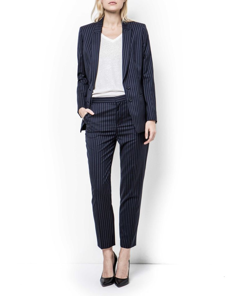 Cadi Blazer-Women's sharply cut blazer in pinstriped wool-stretch. Features two-button closure and single rear vent. Fully lined. Slim fit. Below-hip length. Premium quality fabric from Italian weaver Marlane For a complete suit look wear it with Vonn trousers