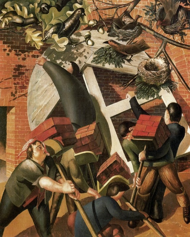 Stanley Spencer, (English painter, 1891 – 1959) The Builders  It's About Time: Englishmen Working by Stanley Spencer 1891-1959