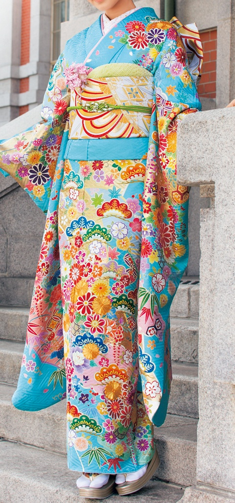 "Furisode. Known as the ""swinging sleeves"" kimono since the sleeves are between 39 and 42 inches long."