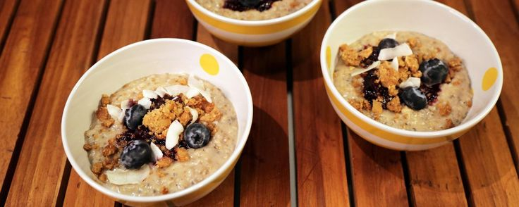 World's Greatest Oatmeal..thechew.com .. michael symon .. steel cut oats with a streusel topping