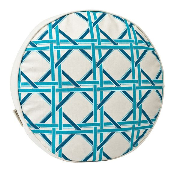 Ecoaccents Round cane Pillow- Turquoise