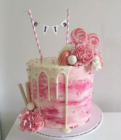 Geschmolzenes Zuckerglasur mit Fahnen-Geburtstags-Kuchen für Mädchen   – Birthday parties