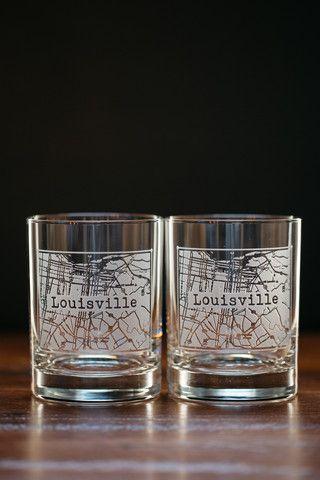 Louisville College Town Rocks Glass Set $45
