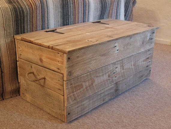 This rustic blanket/toy box is hand made to order. It is made completely from reclaimed wood, preventing it from going to landfill or being