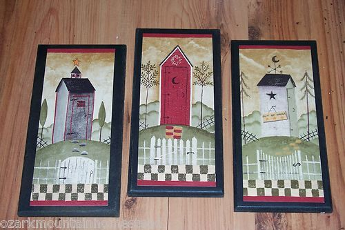 Outhouses 3 Country Bath Wall Decor Rustic Outhouse Bathroom Plaques
