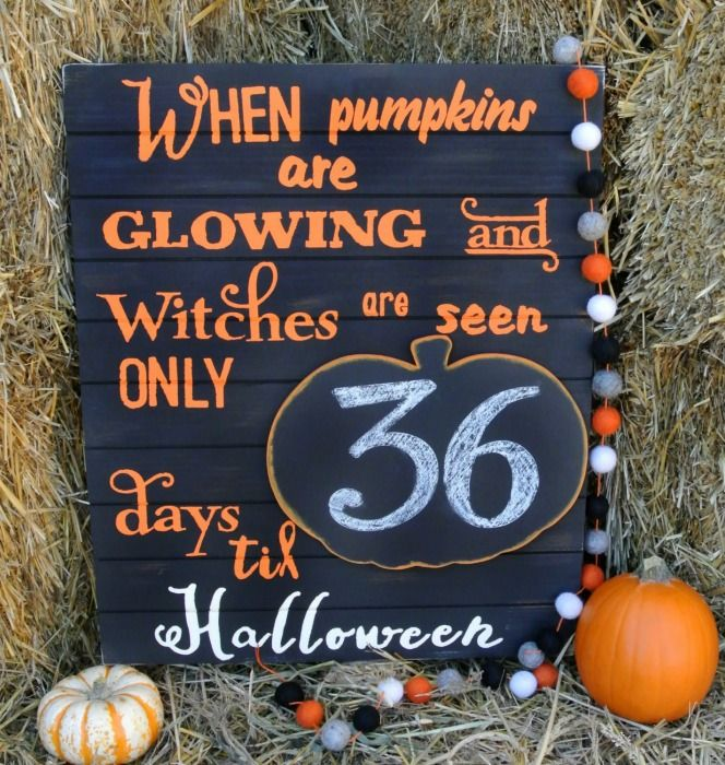 Halloween Countdown Sign. This can be used year after year...so adorable and timeless!