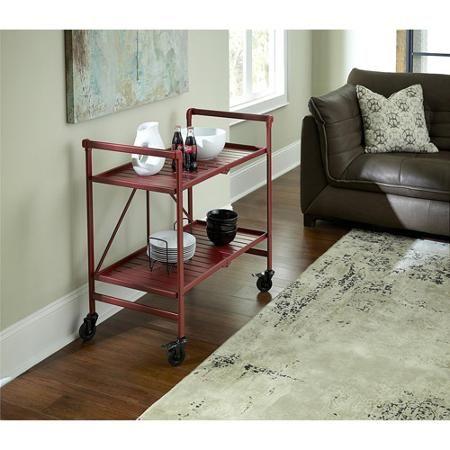 Cosco Metal Slat Folding Serving Cart, Ruby Red