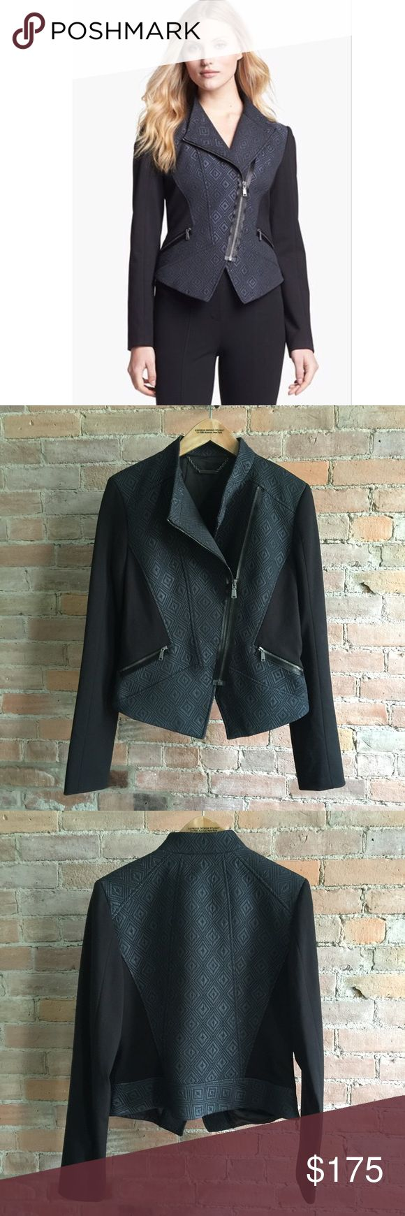 NWOT Elie Tahari Viola Midnight moto jacket Stunning brand new diamond jacquard Viola moto jacket from Elie Tahari. Like new. Has slate blue body and contrast sleeves. Asymmetric hem and zip. Super fitted and flattering to your waist. Looks couture, must have for fall. Size 10. Fits small L or larger M. Elie Tahari Jackets & Coats