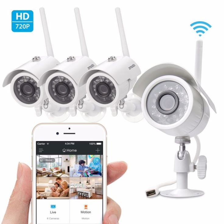 Wireless Outdoor IR Night Vision Home Security Camera System HD 4 IP