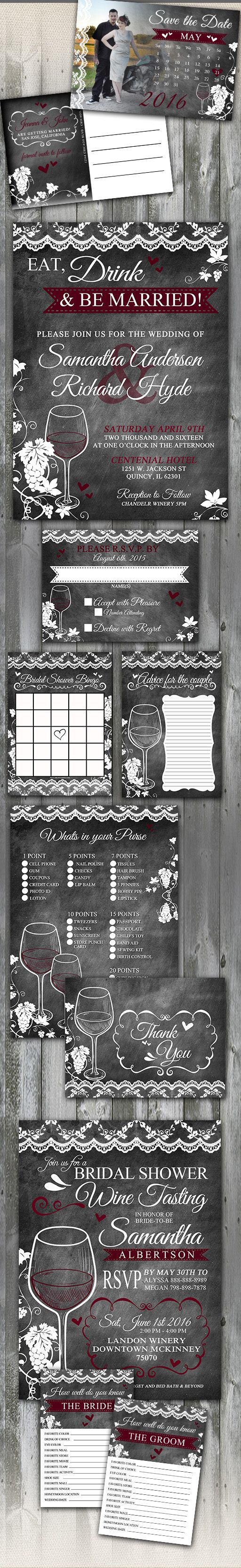 Rustic Chalkboard and lace Wine Wedding Stationery Set. This winery or vineyard wedding theme features lace and wine elements. Colors can be changed upon request.