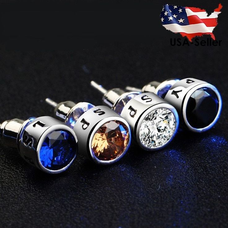 Hot! Cz Stud Men's Earrings Black Blue Crystal Stud Spy Silver Plated Earrings