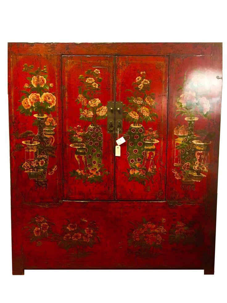 Antieke Chinese Tibetaanse Kast Handbeschilderd Rood - Orientique.nl ...