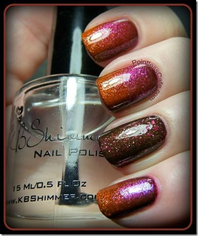 "Pointless Cafe's fall manicure using a gradient of KBShimmer's ""24 Carrot Bold""…"