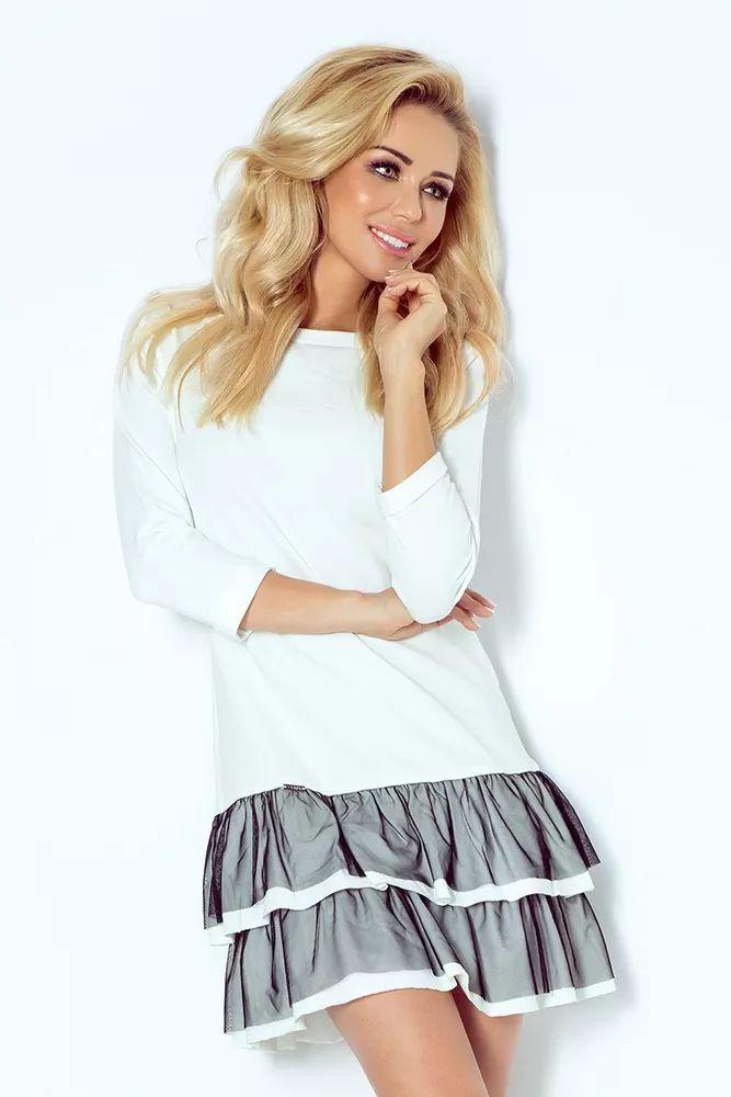 Dámské modré šaty s volánky. Barva: bílá + šedá Materiál: 95% viskoza, 5% elastan Rozměry: vel. 34(XS) - hrudník až 90 cm, pas až 88 cm, boky