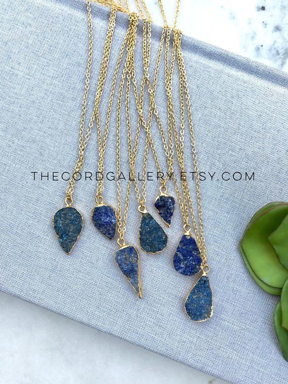 Lapis Lazuli Necklace 14k Gold Filled Freeform Blue Lapiz Lazuli Stone Pendant Boho Jewe Lapis Lazuli Necklace Unique Pendant Necklace 14k Gold Filled Necklace