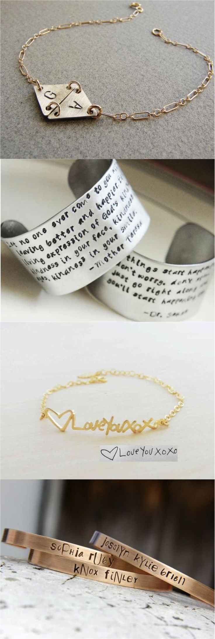 Carry your love around with you at all times with these personalized bracelets. Great gift for someone near & dear!   Made on Hatch.co by independent designers and professional jewelry makers.