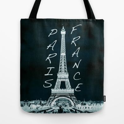 La Tour Eiffel - The Eiffel tower inverse with text Tote Bag