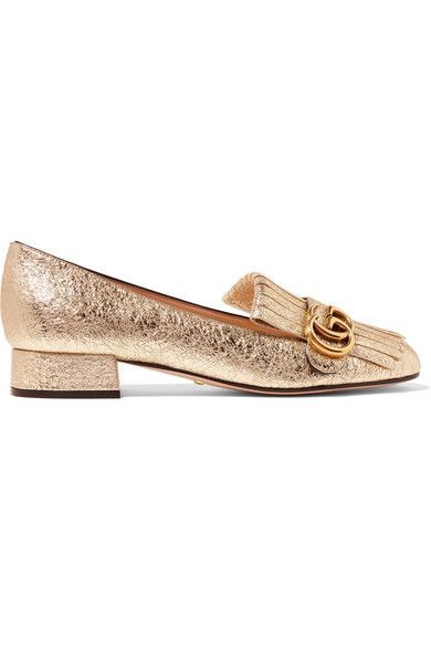 Heel measures approximately 25mm/ 1 inch Gold cracked-leather Slip on Made in ItalyLarge to size. See Size & Fit notes.