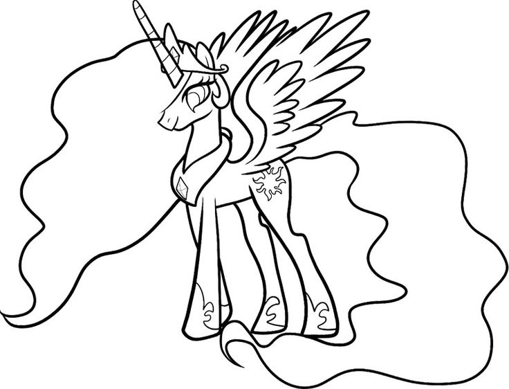 Celestia My Little Pony Coloring Page