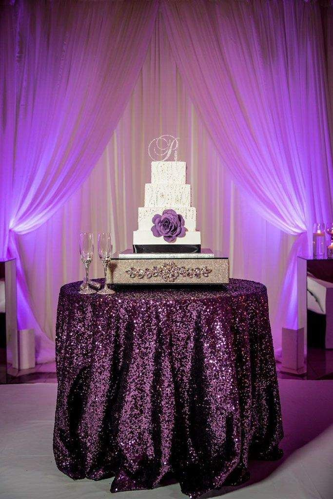 Dramatic Cake Table With Plum Glitz Sequin Tablecloth