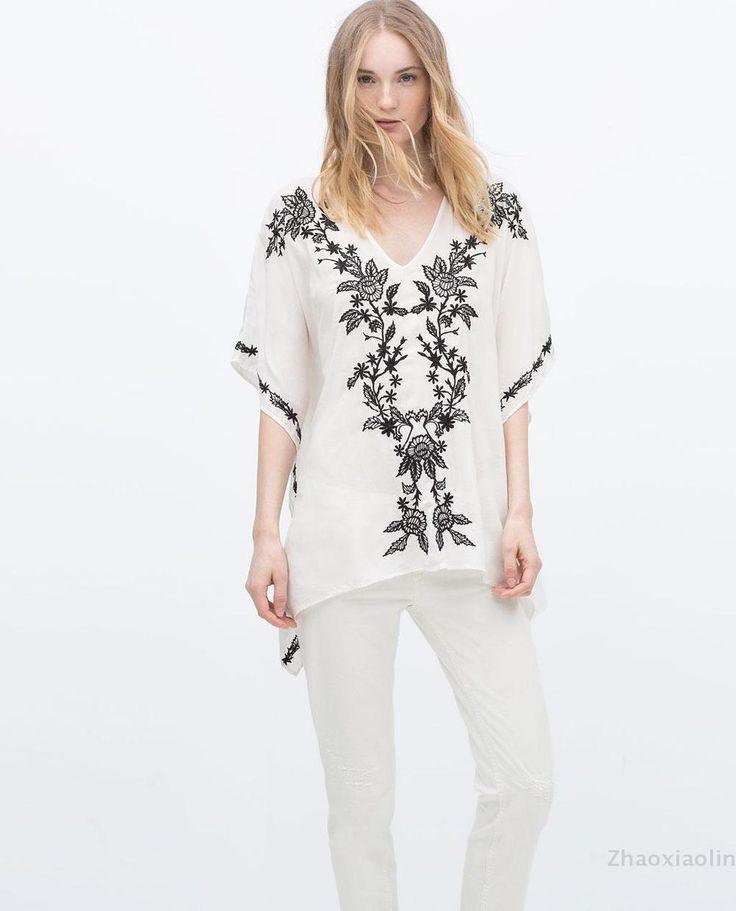2015 Женская Мода ZA Ретро Белый Короткий кафтан V образным Вырезом Вышитые Кимоно рукава Этническая Блузка Рубашка Свободные Топы 7521/067 купить на AliExpress