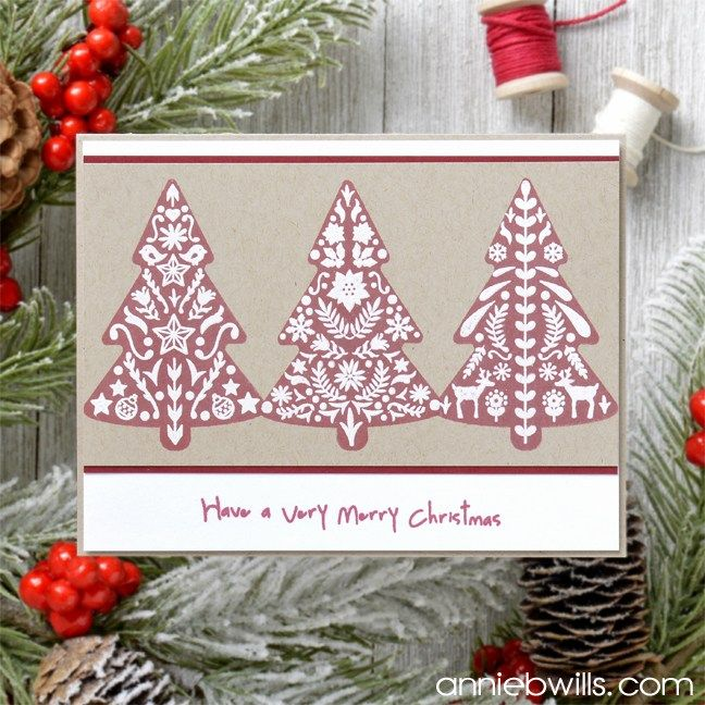 Nordic Christmas Tree Card Made With The Color Layering Nordic Tree Set From Hero Arts Christmas Tree Cards Christmas Card Art Nordic Christmas