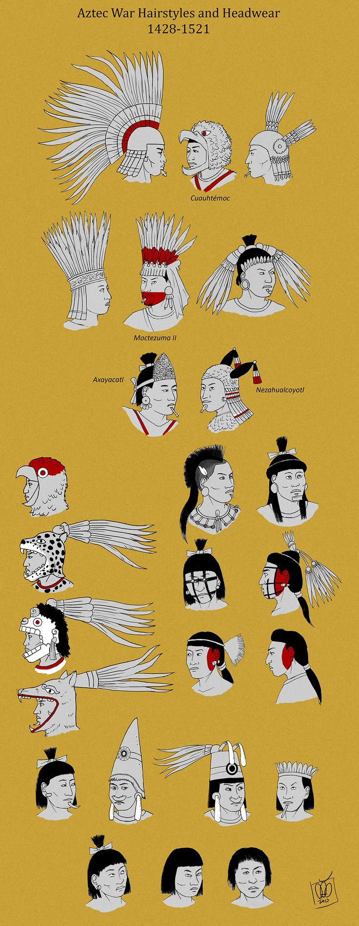 Aztec Warrior Hairstyles by Kamazotz.deviantart.com on @DeviantArt