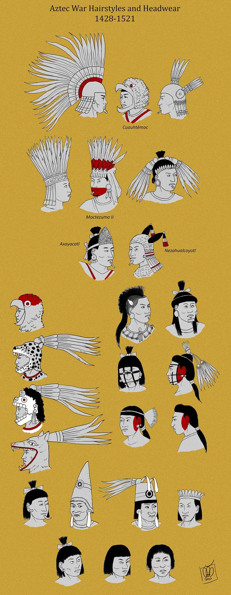 Peinados y Penachos de guerreros Aztecas.                                                                                                                                                                                 Más