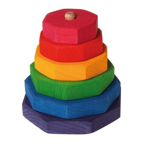 [Grimm's Spiel & Holz Design グリムス社]タワーつきみ 多角形 ドイツ・グリムス社の大小の積み木と土台となる棒の付いたパーツからなる積み木です。シンプルでも奥が深いおもちゃです。
