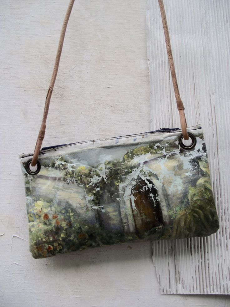 ONE OF A KIND PAINTING BAG - Secret Garden A series of unique, leather handled carry bags made by hand using vintage oil paintings sourced exclusiv...