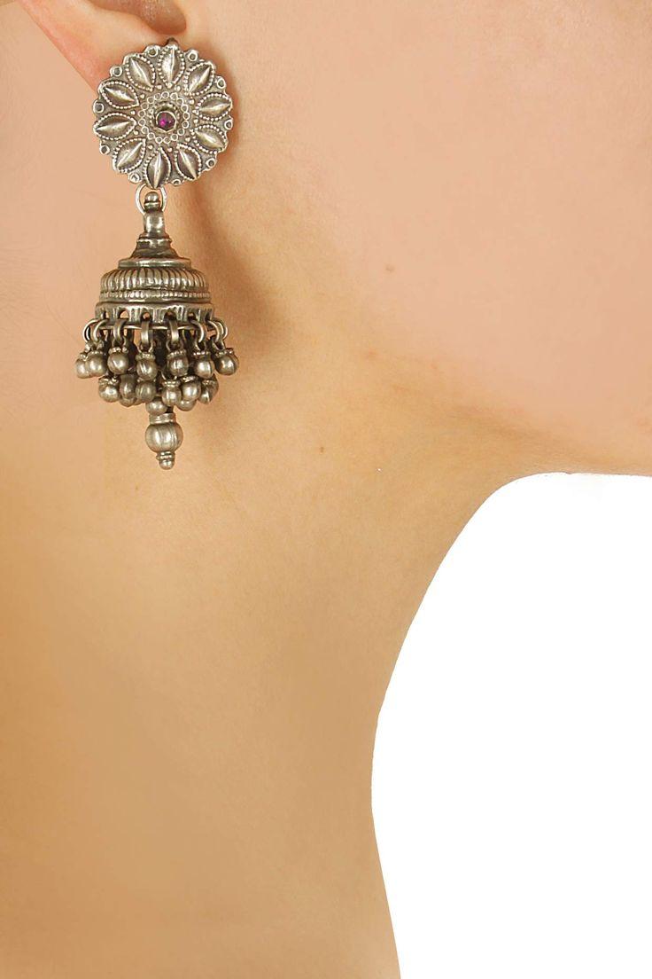 Silver finish pink glass stone jhumki earrings by Sangeeta Boochra. Shop now: http://www.perniaspopupshop.com/designers/sangeeta-boochra #earrings #sangeetaboochra #shopnow #perniaspopupshop