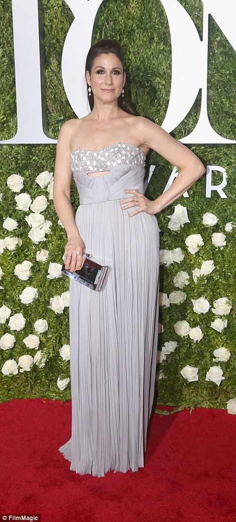 Stunning in silver:Stephanie J. Block chose a pleated version while Lucy Devito, daughter of Danny Devito rocked a intricately patterned version