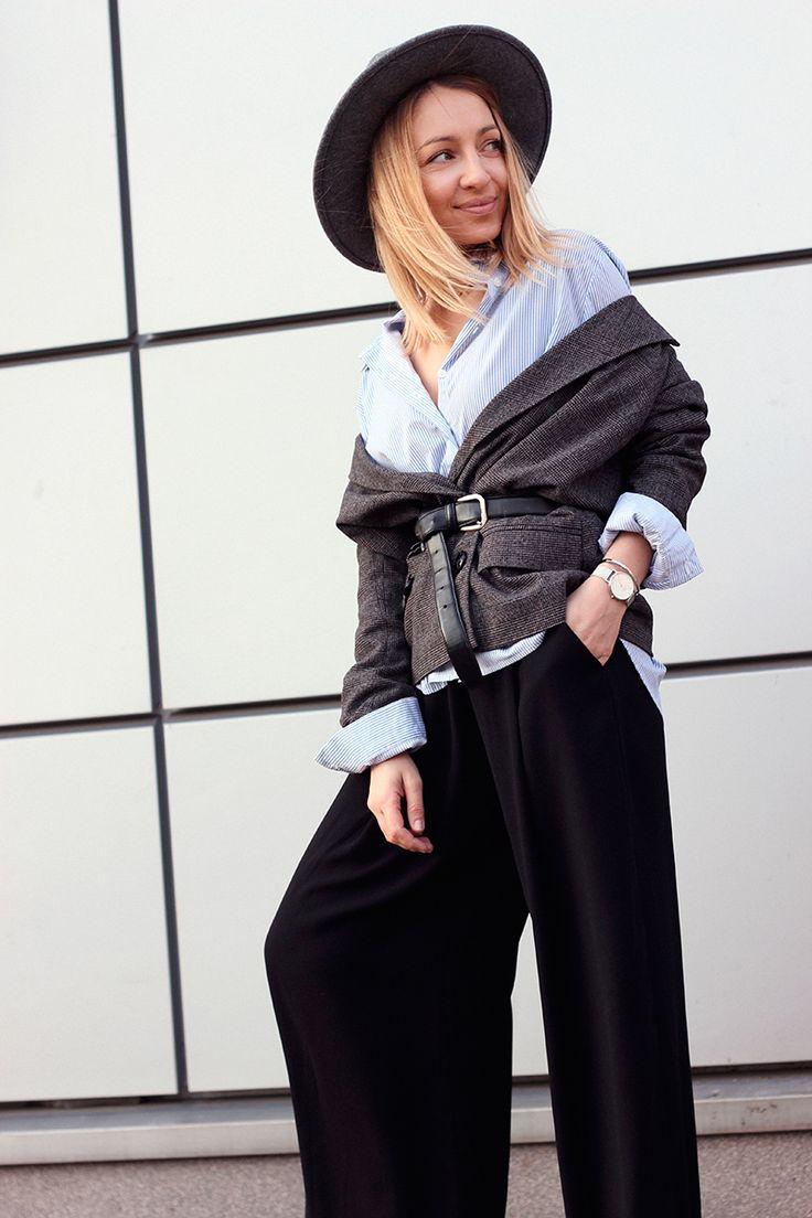 Marynarka w kratę stylizacja / Spodnie palazzo