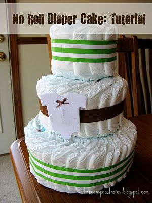 No Roll Diaper Cake Tutorial. Instructions on how to make a baby shower diaper cake without having to roll each individual diaper.