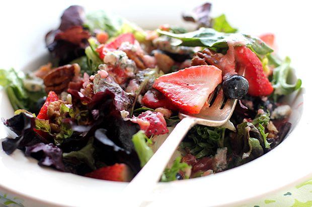 Strawberry, feta and candied walnut salad with fresh homemade strawberry poppyseed vinaigrette.