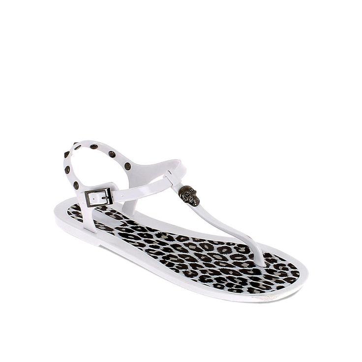 Sandalo infradito in pvc leopardato con borchie