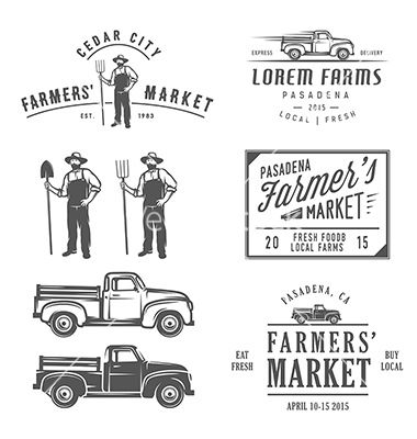 Vintage farming labels badges and design elements vector  - by ivanbaranov on VectorStock®