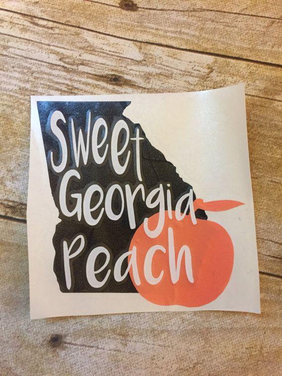Sweet georgia peach state car decal sticker by vinylvineyardco