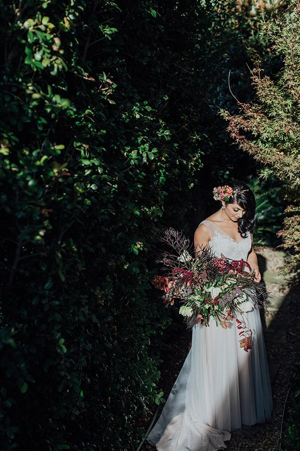 Flashback to Olivia's wild, organic bouquet of dark foliages and rich burgundy flowers with pops of white and cream. www.jademcintoshflowers.com.au