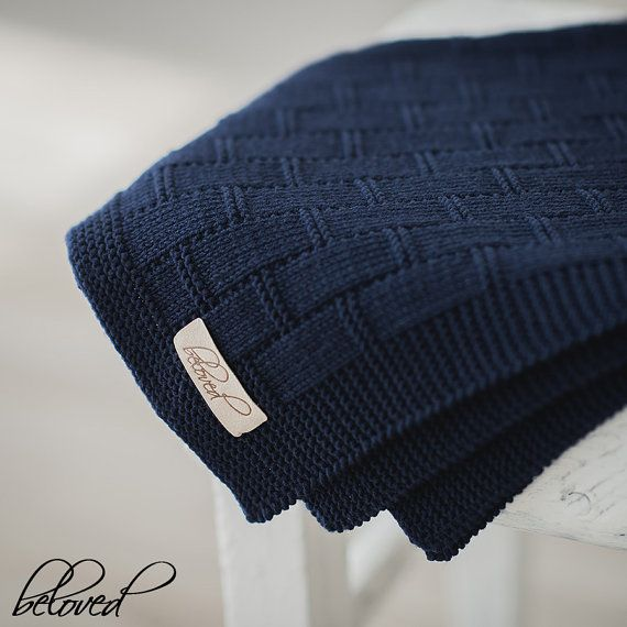 Navy Blue Baby Boy Blanket Knitted Baby Blanket Knit by belovedLT