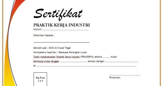 Contoh Sertifikat Praktek Kerja Industri Prakerin Smk Filetype