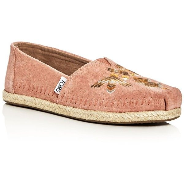 Toms Women's Alpargata Embroidered Moccasin Espadrille Flats (375 BRL) ❤ liked on Polyvore featuring shoes, mocasin shoes, toms espadrilles, flat pump shoes, toms footwear and flat shoes