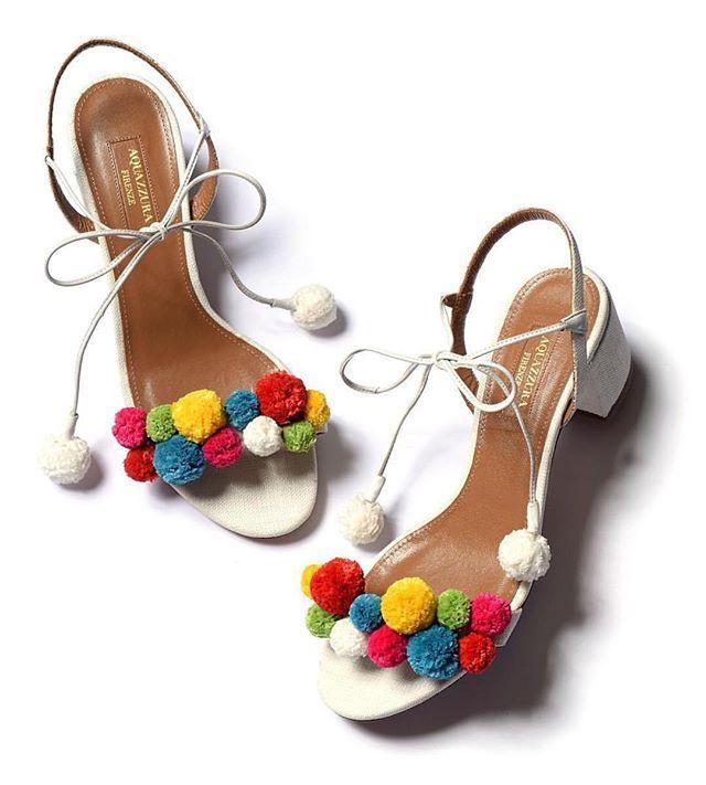 Happy shoes make for happy feet! The new Pom Pom sandals are now available @matchesfashion @netaporter @onpedder @aquazzuraboutiques @shopbop @theofficialselfridges @estnation_jp @follifollie @helenmarlengroup @sigrunwoehr @shopthegriffin @matchesfashion #aquazzura