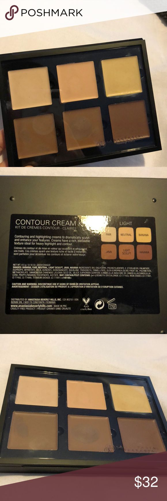 Anastasia Beverly Hills Cream Contour Kit (LIGHT) Lightly used cream contour kit from ABH   Probably 2 months old! Super great condition   Originally purchased on Sephora's online website   Price negotiable, reasonable offers only please :)   Bundle for discount! Comes with free gift during the holidays Anastasia Beverly Hills Makeup
