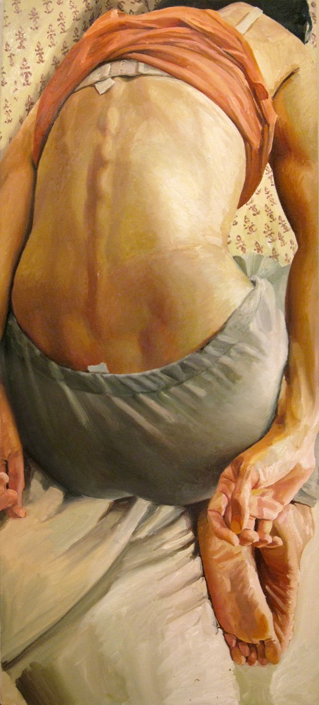 """Back"" - Stephen Wright, oil on canvas {contemporary figurative artist female posterior seated woman painting} stephenwrightart.com"