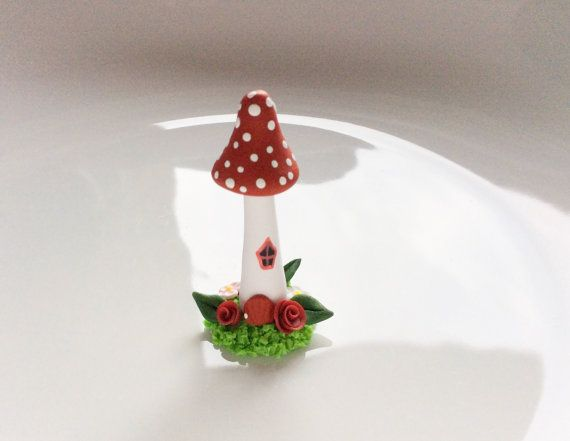 Miniature fairy mushroom house in red handmade from polymer clay
