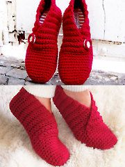 Crochet Red Rib Basic Slippers pattern.  Notice the wrapping.  Finally, a crochet slipper that actually stays on!