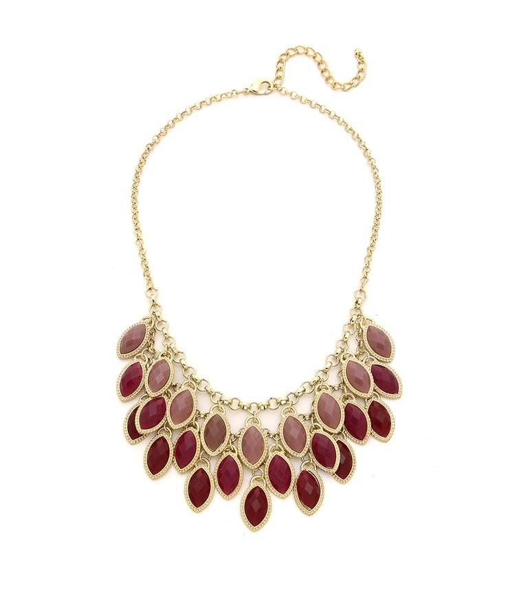 Jeweled Fringe Necklace - Mauve and Gold  $15: Fringe Necklace, Fringes Necklaces, Handmade Necklaces